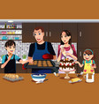family in the kitchen vector image vector image
