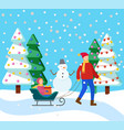 father rides child on sleigh snowy winter forest vector image vector image