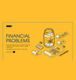 financial problems poorness landing page banner vector image vector image