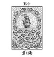 fish or ship symbol tarot card from lenormand vector image vector image