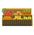fruit stand counter booth for product shop vector image vector image