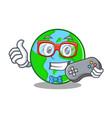 gamer world globe character cartoon vector image