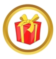 Gift box with ribbon bow icon vector image vector image