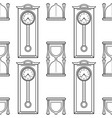 grandfather clock and hourglass black and white vector image vector image