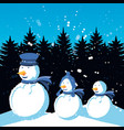 group snowmen with winter landscape of christmas vector image