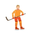 Guy Playing Hockey In Orange Uniform vector image vector image