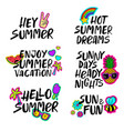 hand drawn cartoon summer lettering set vector image