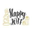 Happy 2017 - hand drawn design elements for vector image vector image