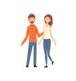 happy couple standing and holding hands husband vector image vector image