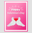 happy valentine day poster doves holding red heart vector image vector image