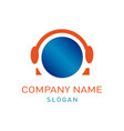 headphones logo vector image vector image