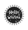 hello winter calligraphy phrase handwritten vector image