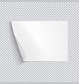 horizontal white sheet of paper on transparent vector image vector image