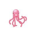 isolated pink octopus smiling good humor vector image vector image
