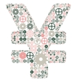 Japanese yen sign made of colored gears vector image vector image