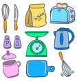kitchen set accessories doodle style vector image