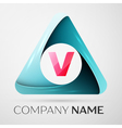 Letter V logo symbol in the colorful triangle on vector image