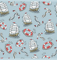 lighthouse ship sailboat sketch seamless pattern vector image vector image