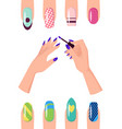 manicure with patterns on nails of all shapes set vector image vector image