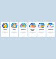 mobile app onboarding screens breakfast and sweet vector image