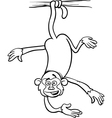 monkey on branch coloring page vector image vector image