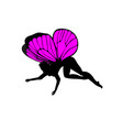 pink silhouettes of cute girly fairies with vector image