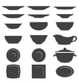 Plates And Dishes silhouette set vector image vector image