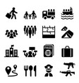 refugee immigrants immigration icons set vector image