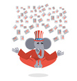 Republican Elephant hat Uncle Sam meditating votes vector image vector image