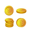 set money coin design isolated on white vector image vector image