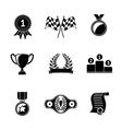 Set of winners icons - goblet medal wreath race vector image