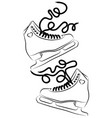 shoes for figure skating black white vector image vector image