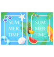 summertime banners with sunglasses and watermelon vector image vector image