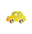 the most top-end toy car yellow color in drops of vector image vector image