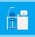 work place with table lamp on it chair on wheels vector image