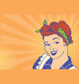 young retro woman portrait with retro hairstyle vector image vector image