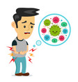 young sick man having stomach ache food vector image vector image