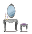 a vintage table for cosmetics and a mirror vector image