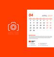 april 2019 desk calendar design template vector image