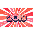 banner card 2019 coral color of the year sunburst vector image vector image