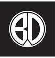 bd logo monogram circle with piece ribbon style vector image vector image