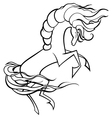 Black and white horse vector image vector image