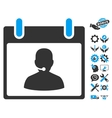 Call Center Manager Calendar Day Icon With vector image vector image