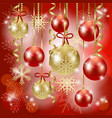 christmas background with baubles in red vector image vector image