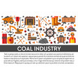coal industry banner template with mining icons vector image