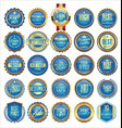 collection gold and blue badges labels laurels vector image vector image