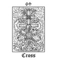 cross and skull tarot card from lenormand gothic vector image vector image