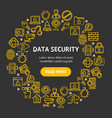 data security signs round design template thin vector image