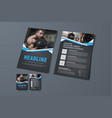 design of a black brochure with blue ribbons and vector image