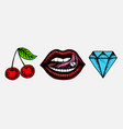 face detailed kiss or lips cherry and diamond vector image